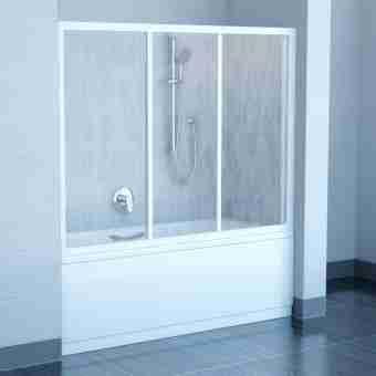 Штора на ванну RAVAK AVDP3-120 TRANSPARENT БЕЛЫЙ ПРОФИЛЬ 40VG0102Z1